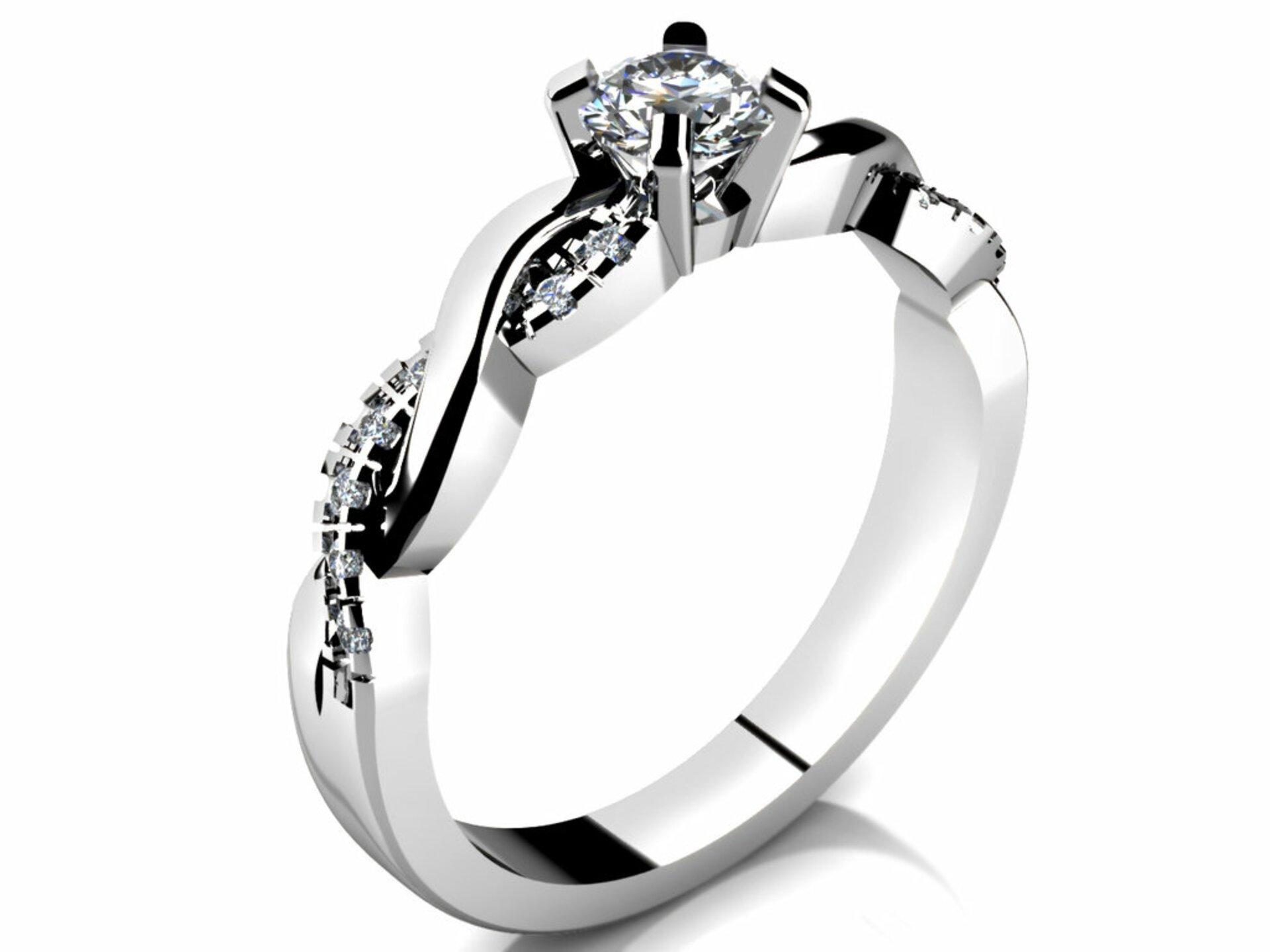 Zásnubný prsteň - model LOVE 084 - biele zlato  a83e0826751